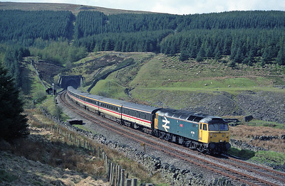 "47513 ""Severn"" hauls a diverted Euston-Glasgow at Mossy Bottom 24/4/93."