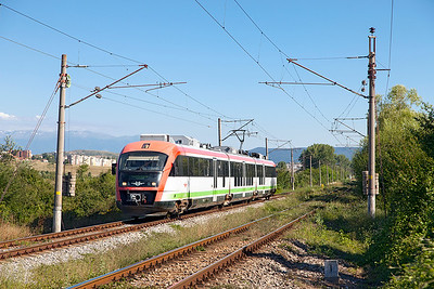 Siemens Desiro EMU 30 002 approaches the old station site at Kopanitsa forming train 5622 15.58 Blagoevgrad to Sophia. Friday 8th July 2016.