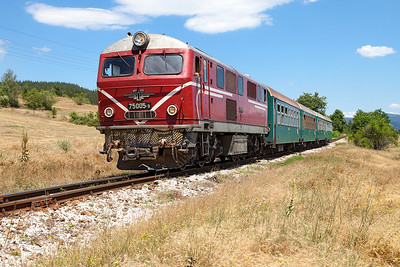 Narrow Gauge Henschel 75 005 approaches the outskirts of Velingrad with train 16105 13.20 Septemvri to Dobriniste. Thursday 7th July 2016.