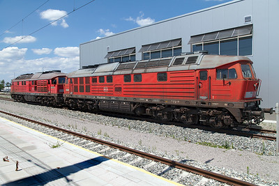 DB's 232 600 & 232 663 stabled at Svilengrad near the Turkish border. Wednesday 6th July 2016.