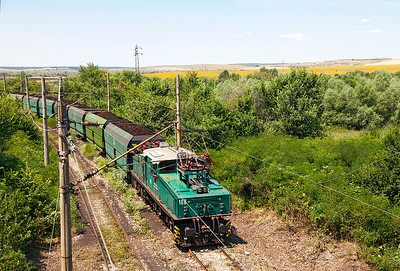 A LEW EL2 No. 108 pushes opencast mined coal towards Iztok 1 power station on the Marista Iztok Energy Complex. Wednesday 6th July 2016.