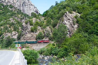 Narrow Gauge Henschel built 75 005 climbs alongside the Chepinska River approaching the station at Tsepina with train 16105 13.20 Septemvri to Dobriniste. Thursday 7th July 2016.