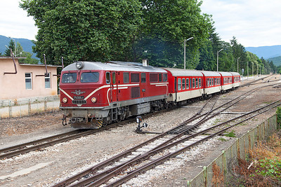 Narrow Gauge Henschel built 75 004 departs from Velingrad with train 16103 08.25 Septemvri to Dobriniste. Thursday 7th July 2016.