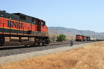 The conductor from BNSF 1021 (C44-9W) waits to perform a roll by check of a westbound manifest headed by BNSF 7791 (ES44DC), BNSF 4925 (C44-9W) & BNSF 8076 (SD40-2) as they exit the single line section from Caliente at Bena. 28/04/2007.