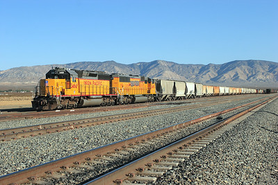 UP 3460 (SD40-2R) & UP 2493 (SD60M) are stabled in the yard at Mojave. 27th April 2007.