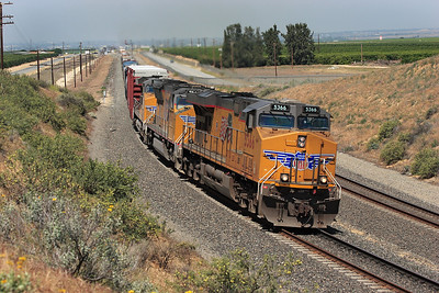 UP 5366 (C45ACCTE), UP 5164 (SD70M) & UP5506 (C45ACCTE) come of the long straight from Bakersfield at Sandcut with an eastbound manifest service. 28/04/2007.