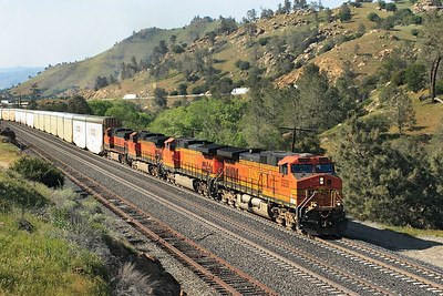 BNSF 5258, BNSF 4692, BNSF 4390 & BNSF 1088 (all C44-9W's) have at last reached Woodford but are now in the siding there with the eastbound autoracks to wait for several trains to pass. 28/04/2007.
