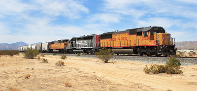 UP 2230 (SD60), UP 2772 (SD40-2 Ex SP 8685) & UP 2317 (SD60M) stabled on the Creal branch west of Mojave with a cement train. Nice to see 2772 still in SP livery. 29/04/2007