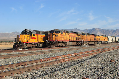 UP 7090, UP 6506, UP 6350 (all C44AC's) & UP 3460 (SD40-2R) stabled in Mojave Yard. Sunday 29th April 2007.