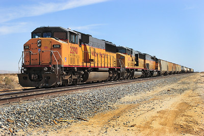 UP 2290, UP 2402 (both SD60M's) & UP 2943 (SD40T-2) stabled on the Trona branch at Mojave. 29/04/2007.