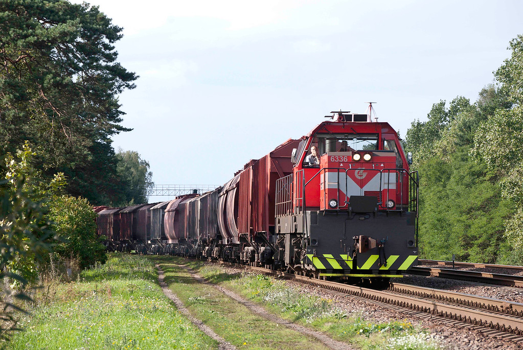 TEM TMH shunter easing a mixed freight out of Klaipeda docks