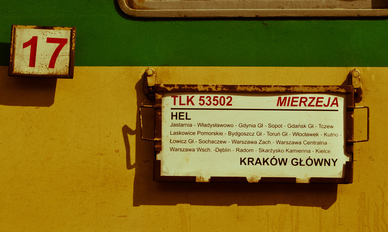 Detail from Krakow to Hel train carriage