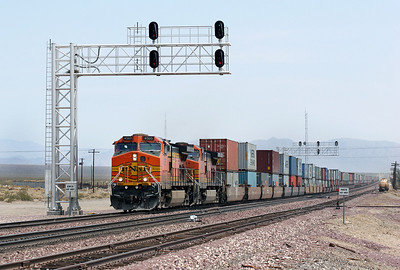 BNSF 4405 & BNSF 4445 (both C44-9W's) pass West Amboy with a westbound doublestack train. Friday 4th May 2007.