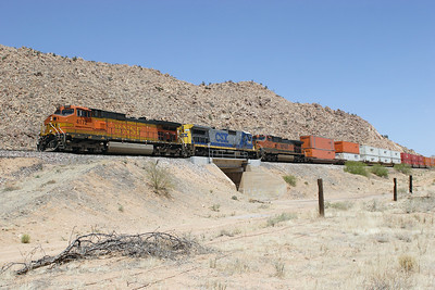 BNSF 4172 (C44-9W), CSX 7641 (C40-8) & BNSF 1061 (C44-9W) pass Crozier with a westbound doublestack train. 02/05/2007.