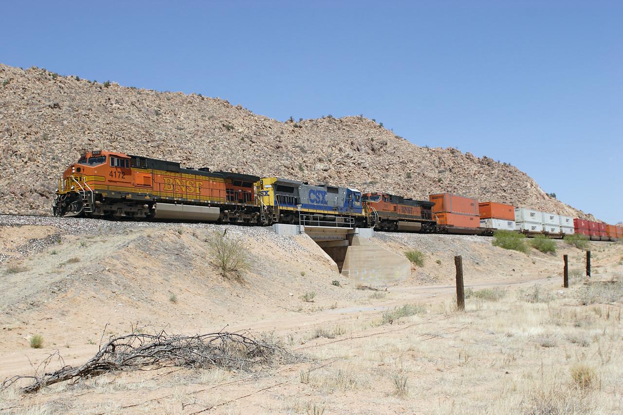 BNSF 4172 (C44-9W), CSX 7641 (C40-8) & BNSF 1061 (C44-9W) pass Crozier with a westbound doublestack train. 02/05/2007.