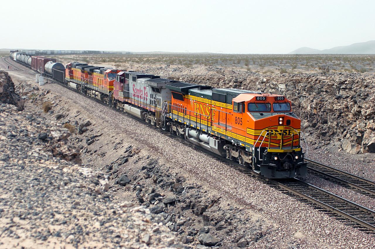 BNSF 805 (C40-8W), BNSF 600, BNSF 4736 & BNSF 4331 (all C44-9W's) pass Ash Hill with an eastbound manifest train. 04/05/2007.
