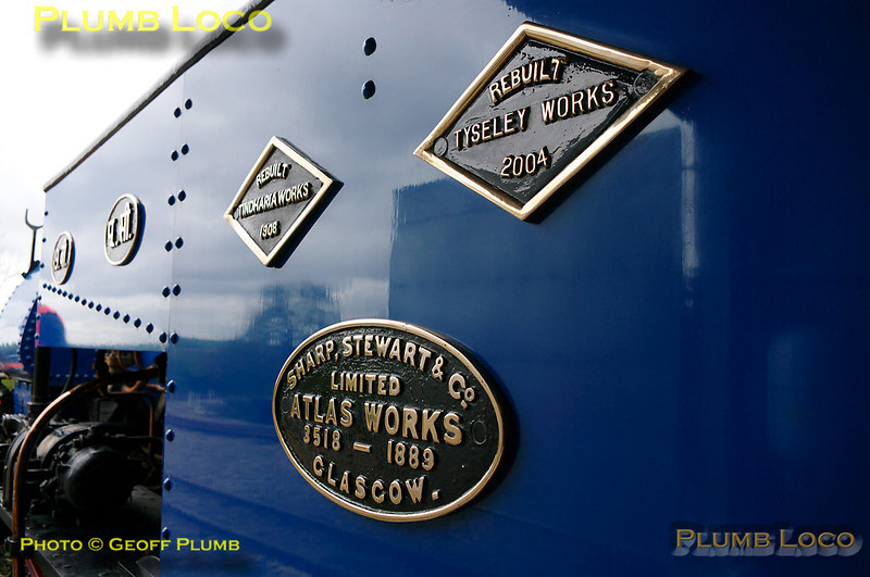 "The various plates on the side of No. 19. Prominent is the builder's plate, ""Sharp, Stewart & Co. Limited, Atlas Works No. 3518  - 1889, Glasgow."" Subsequent plates are"" Rebuilt Tindharia Works 1908"" and in similar style is ""Rebuilt Tyseley Works 2004"". Digital Image No. GMPI4856."