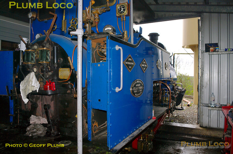 """Former Darjeeling Himalayan Railway """"B"""" class 0-4-0STT No. 19 is raising steam in the shed during the first steaming day of the year at Adrian Shooter's private Beeches Light Railway, 10:23, Friday 2nd April 2010. Digital Image No. GMPI4811."""