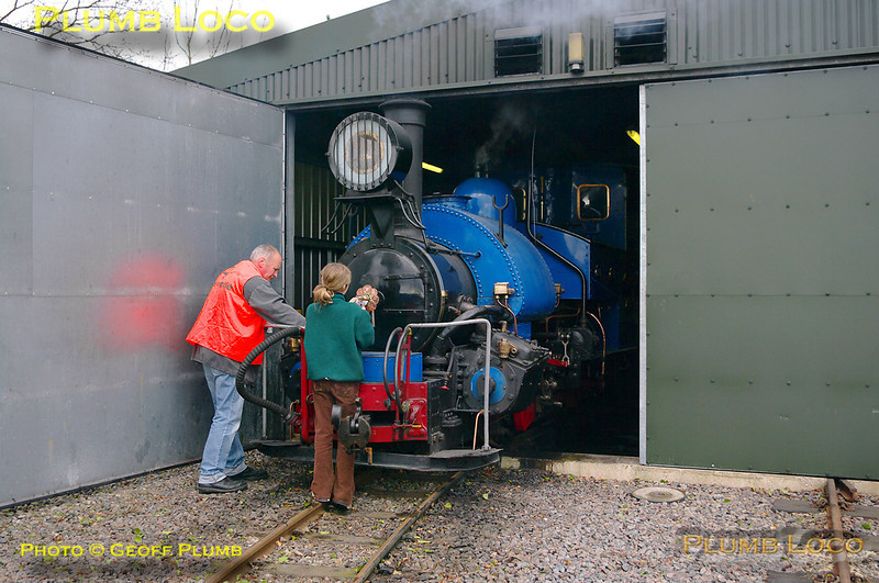"""Darjeeling Himalayan Railway """"B"""" class 0-4-0STT No. 19 is being prepared at the depot on the Beeches Light Railway and will soon be ready to go off shed for the day's duties. 10:12, Friday 2nd April 2010. Digital Image No. GMPI4785."""