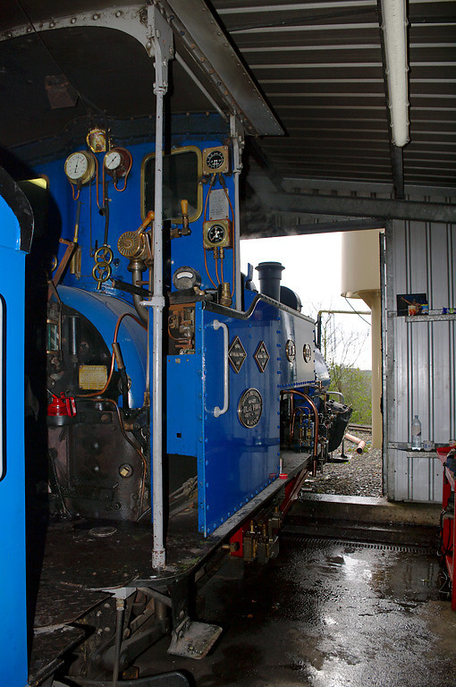 "Former Darjeeling Himalayan Railway ""B"" class 0-4-0STT No. 19 is raising steam in the shed during the first steaming day of the year at Adrian Shooter's private Beeches Light Railway, 10:22, Friday 2nd April 2010. Digital Image No. GMPI4809."