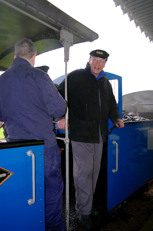 Driver Adrian Shooter has now returned to the footplate of No. 19 and the next run will soon start away from the station. 14:09, Friday 2nd April 2010. Digital Image No. GMPI4944.