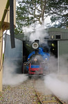 With boiler pressure getting near the mark, No. 19 is eased out of the shed with cylinder cocks open, so that in case they lift, the safety valves are outside the shed building. 10:52, Friday 2nd April 2010. Digital Image No. GMPI4838.