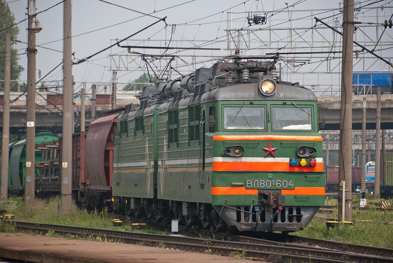 Belarus railways still nearly all ex Soviet kit though one of a small number of new Chinese double ended electric locos can be glimpsed in blue on the right of the picture