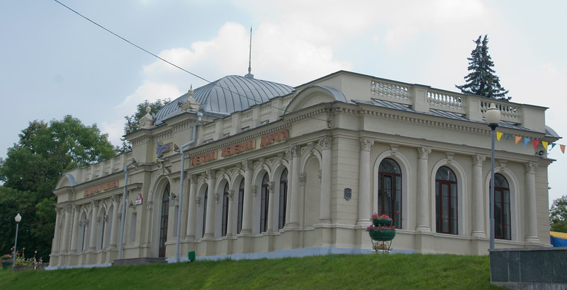 This is the substantial children's railway main station at Minsk's Cheluskintsev park. Children's railways are still relatively common in the former Soviet Union. They are not toy railways but scaled down versions of the real thing which children get to operate (though under adult supervision).