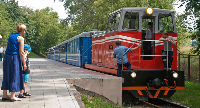 The young staff on each carriage flag the train off before ticket inspections begin.Departure from Zaslonovo the main station on the children's railway