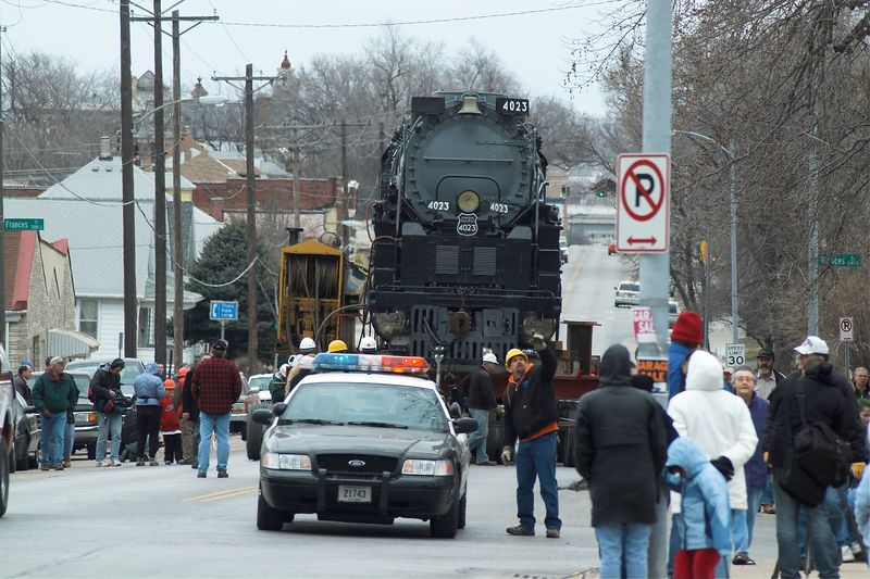 Big Boy is the nickname of Union Pacific's  largest steam  locomotive.  It was built to carry heavy materials and troops during World War II.  On Saturday, March 12th, it was moved to a new location for display.