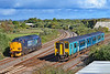 37605 runs round its Railtour from Birmingham whilst 150235 passes on 2M39 1532 Swansea to Shrewsbury at Llandeilo Junction 23/9/18.