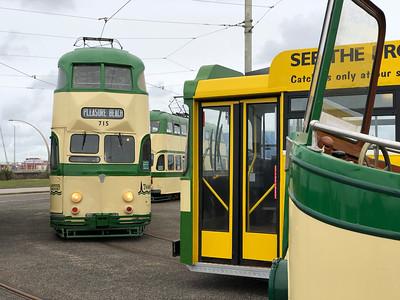 Trams gathered at Pleasure Beach
