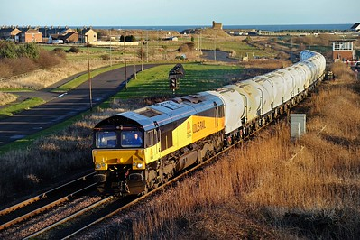 2012 01 12.66742( ex Colas Rail) on the North Blyth-Lynemouth loaded Alcan tanks at Freemans crossing.