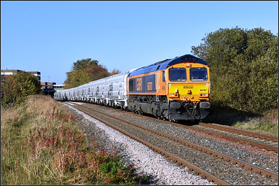 2018 10 27 66787 in charge of the 13.54 Lynemouth p.s.-Tyne Coal Terminal empty biomass working at Ashington.