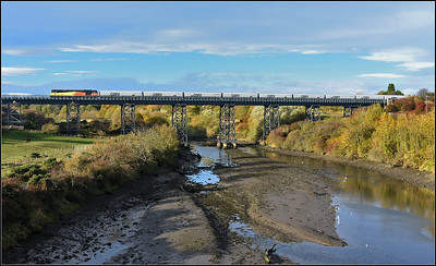 2018 11 03. 60047 on the 09.00 Lynemouth-Tyne Coal Terminal empty working on the Bebside Viaduct heads south.
