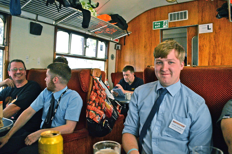 Some of the train crew relax.