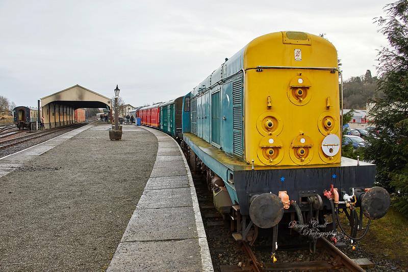 Diesel locomotive BR Type 1 Bo-Bo D8020 (20020) at Bo'ness Station - 28 December 2019
