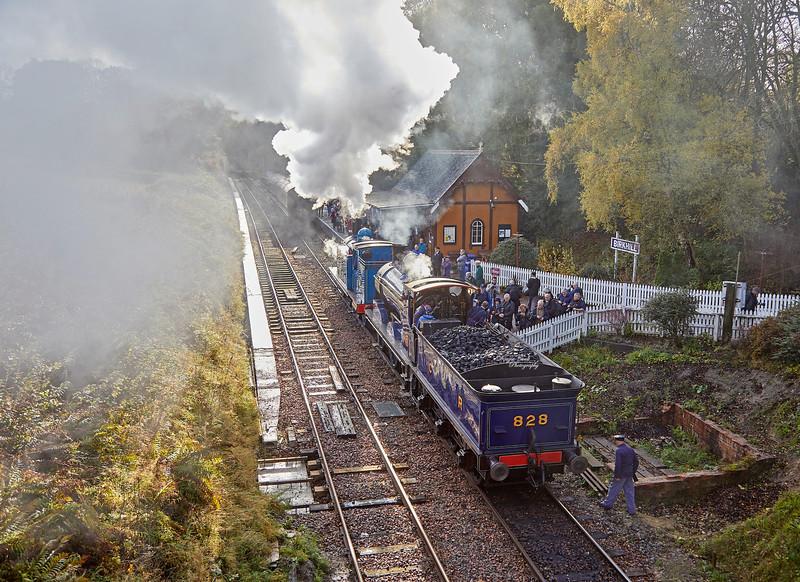 Caledonian Railway 419 and 828 at Birkhill Station - 4 November 2018