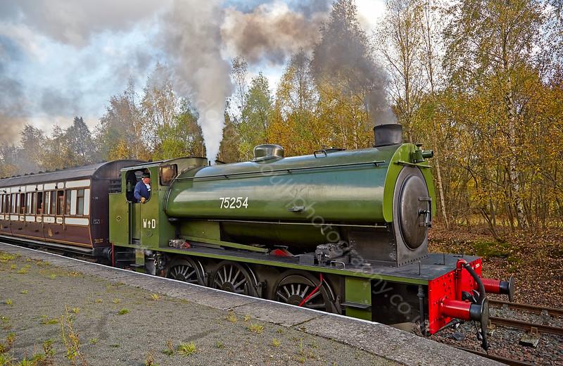 'WD 75254' at Kinneil Halt - 18 October 2014