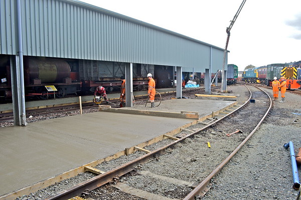 The new concrete storage area being created outside the diesel shed.<br /> 29th March 2019.