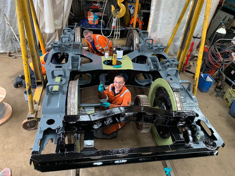 Andy & DAH painting 25235s No 2 bogie frame.<br /> 19th June 2019.
