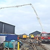 Pumping the concrete to the new storage area outside the diesel shed.<br /> 29th March 2019.