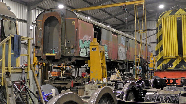 Royal Mail Van 94544 inside the Boness diesel shed for component recovery prior to scrapping.