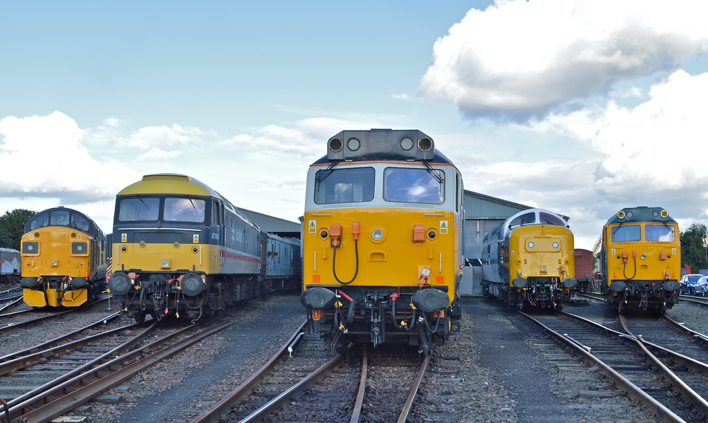 An over view in the Bo'ness yard.<br /> 37025 , 47643 , 50017 , 55003 & 50007.