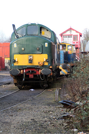 37411 & Ind R2D4 pictured by the signal box at Booths.