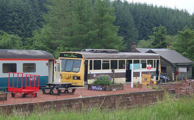 A view of the Leyland/BREL railbus RB004 at the platform at Whitrope, 30th June 2012.