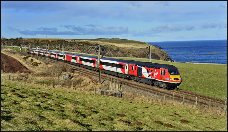 2018 02 11.43300 on the 09.47 Aberdeen-Kings Cross VTEC service at Burnmouth