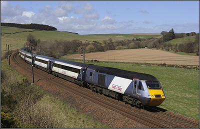 "2013 04 30 43312 ECML.""The Highland Chieftain"" heads south."