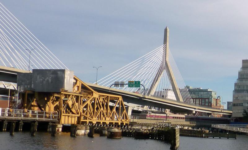 North Station Draw Bridge with Inbound Commuter Train on 1/13/2014