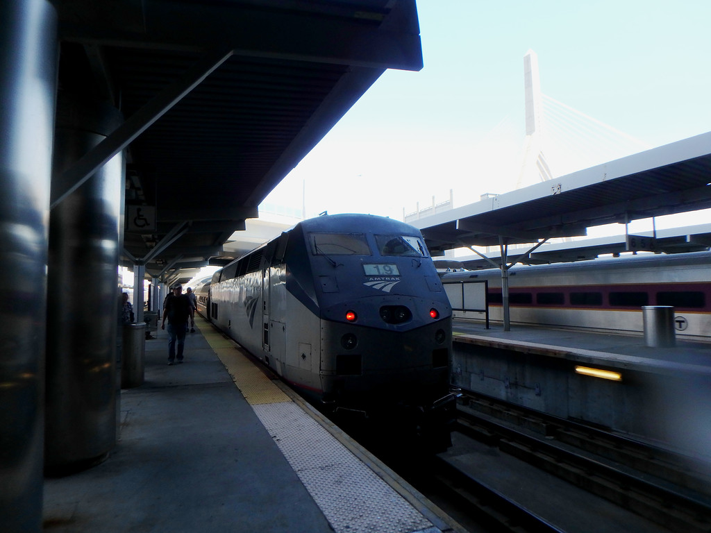 North Station Amtrak 682 the Downeaster has arrived with Engine Number 19